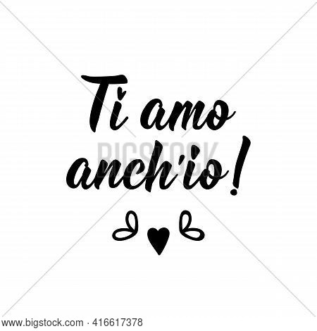 Ti Amo Anch'io. Translation From Italian: I Love You Too. Lettering. Ink Illustration. Modern Brush