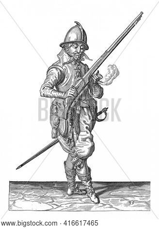 A soldier on guard, full-length, to the right, holding a rudder (a particular type of firearm), vintage engraving.