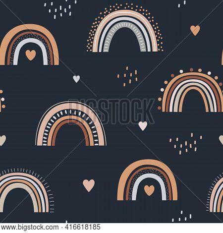 Seamless Childish Pattern With Hand Drawn Rainbows And Hearts. Creative Scandinavian Kids Texture Fo
