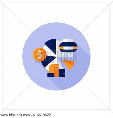 Total Asset Count Flat Icon. All Ownership Aspects.car, Cash, Accounts Receivable, Private Property.