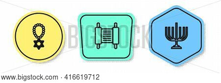 Set Line Star Of David Necklace On Chain, Torah Scroll And Hanukkah Menorah. Colored Shapes. Vector