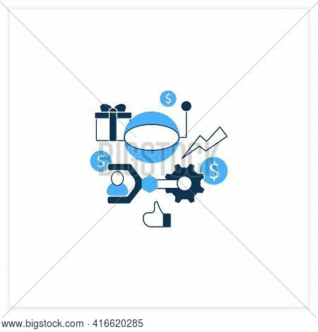 Technological Unemployment Flat Icon.fighting Against Technologization And Automation Enterprises. J