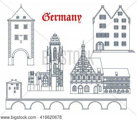 Germany Travel Landmarks Vector Icons, German Cities Buildings Of Bavaria And Hessen. Germany Landma