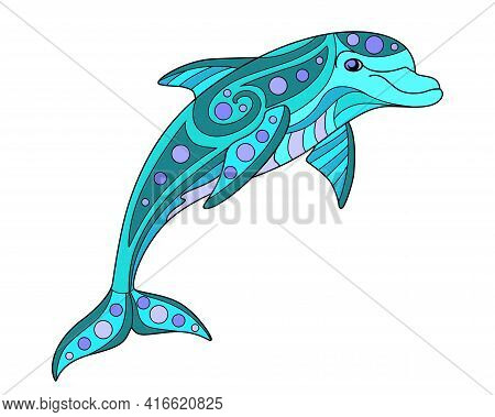 Bottle-nosed Dolphin - Vector Linear Color Illustration. Jumping Dolphin - Multicolored Stained Glas