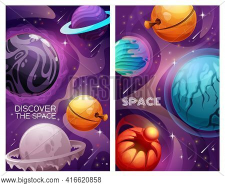 Planets And Stars In Space. Alien Galaxy Universe Vector Banners. Cartoon Planets Of Fantasy Solar S