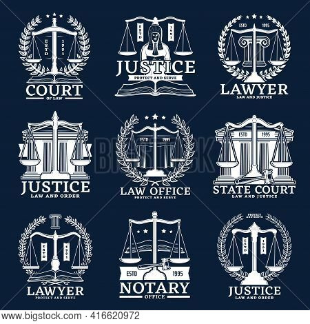 Notarial Office, Notary And Lawyer Service Vector Icons With Scales, Laurel Wreaths, Judge Hammer An