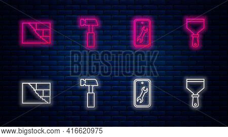 Set Line Hammer, Mobile Service, Bricks And Putty Knife. Glowing Neon Icon On Brick Wall. Vector