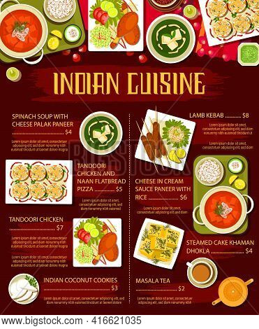 Indian Cuisine Meals With Meat And Vegetables Menu Page. Palak Paneer Soup, Naan Flatbread And Tando