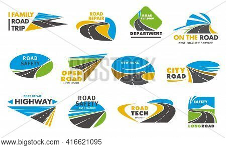 Road Safety Vector Icons, Pathway, Highway Repair. City Highway Road Disappearing Into The Distance,