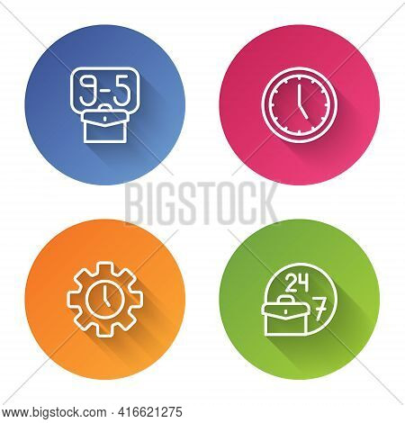 Set Line From 9, Clock, Time Management And Always Busy. Color Circle Button. Vector