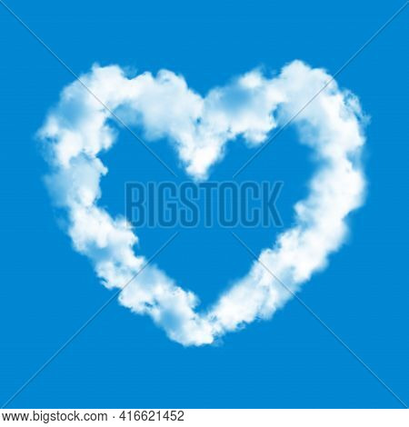 Heart Cloud On Blue Sky Background Realistic Vector Of Love And Valentine Day. Heart Shaped White Fl
