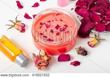 Jar Of Cosmetic Body Scrub With Rose Petals. Natural Cosmetic. Home Cosmetics
