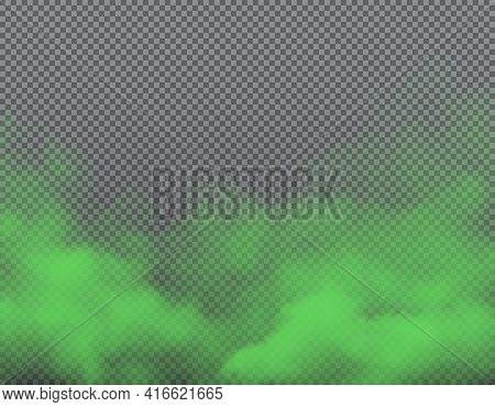 Green Bad Smell On Transparent Background With Realistic Vector Clouds Of Stink, Smoke, Odor And Ste