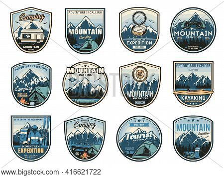 Mountain Camping Expedition, Travel Adventure Icons And Nature Tourism Badges, Vector. Outdoor Camp