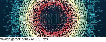 Vector Technology Background. Big Data Visualization. Abstract Stream Information With Circles Array