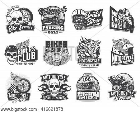 Motorcycle Races And Biker Garage Icons, Skull And Moto Wheel On Wings Vector Symbols. Motorcycle Ra