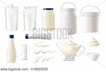 Mayonnaise Food Packages Vector Mockups, Realistic Blank Pouches, White Plastic Bags, Packs And Doyp