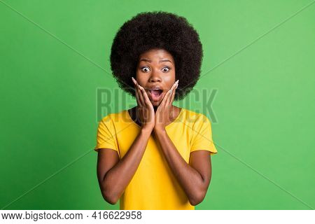 Photo Of Young Shocked Amazed Surprised Afro Girl Hold Hands Cheeks Hear Unexpected News Isolated On
