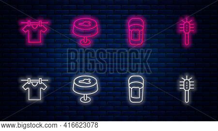 Set Line Stain On The Tablecloth, Bucket With Rag, Drying Clothes And Toilet Brush. Glowing Neon Ico