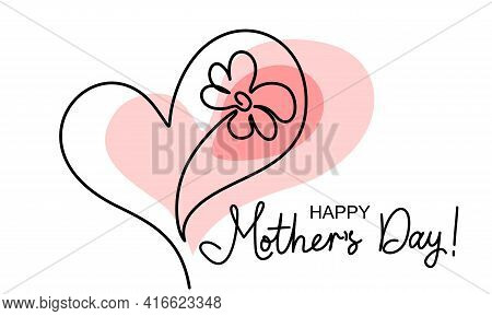 Happy Mother Day Card. Flower Inside Heart. Symbol Of Love, Care And Happiness