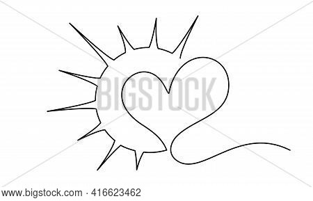Heart Inside Sun Sign. Concept Of Love, Compassion And Happiness