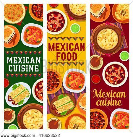 Mexican Cuisine Vector Beef Bean Stew Chilli Con Carne, Bread Pudding Capirotada And Potato Casserol