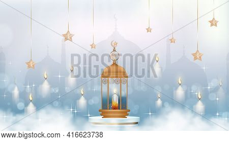 Islamic Greeting Card Design With Traditional Islamic Lantern,candle,crescent Moon And Star With Gol
