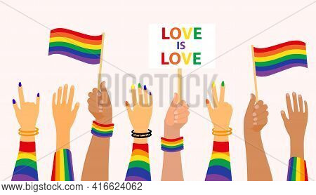 Lgbt Pride Month Holiday, People Hold Signs, Banner And Placards With Lgbt Rainbow And Transgender F