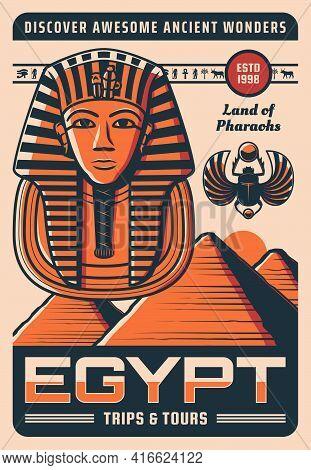 Egypt Travel Retro Poster With Vector Ancient Egyptian Landmarks. Pharaoh Pyramids And Tutankhamen M
