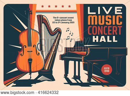 Live Music Concert Hall Retro Vector Flyer With Violin, Harp, Grand Piano And Notes. Symphonic Orche