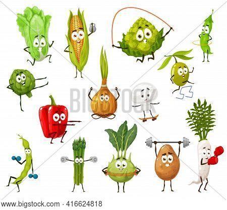 Vegetable, Bean And Mushroom Cartoon Characters Doing Sport Exercises. Cute Vector Veggies, Bell Pep