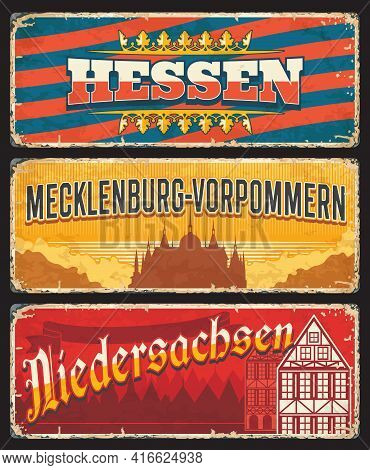 Germany Hessen, Niedersachsen And Mecklenburg Vorpommern Metal Signs And Rusty Tin Plates, Vector. G