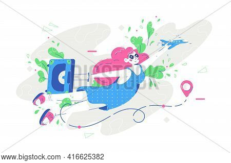 Woman Flying On Vacation Vector Illustration. Female In Bright Outfit With Suitcase Going On Holiday