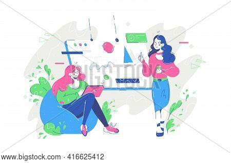 Coworkers Discussing Work Project Vector Illustration. Board With Startup Flat Style. Women With Mod