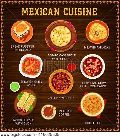 Mexican Cuisine Vector Menu. Bread Pudding Capirotada, Potato Casserole With Cheese And Meat Empanad