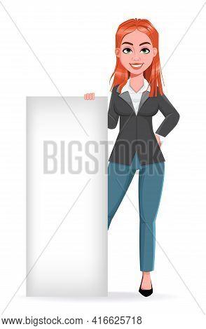 Beautiful Business Woman Standing Near Blank Placard. Cheerful Businesswoman Cartoon Character. Stoc