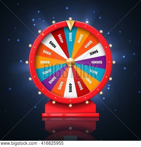 Fortune Wheel Or Lucky Spin Games, Vector Casino And Gambling Design. 3d Lottery, Jackpot And Money