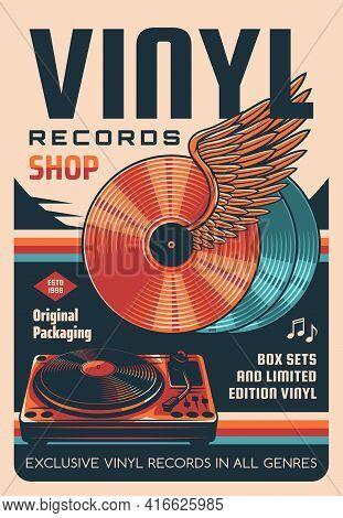 Vinyl Records Shop Vector Retro Poster. Winged Vinyl Discs, Dj Records Turntable. Old Music Records