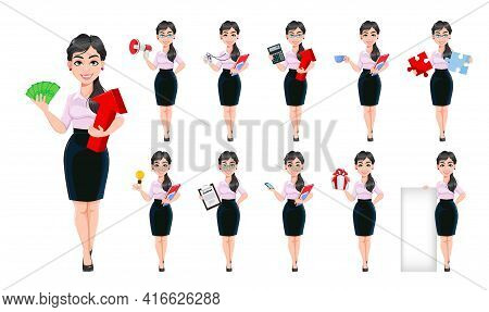 Beautiful Successful Business Woman Cartoon Character, Set Of Eleven Poses. Usable As Manager, Secre