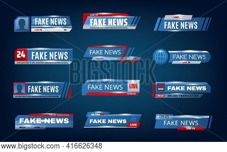 Fake News Bars And Tv Screen Lower Vector Banners. World News Titles And Headlines Of Live Tv, Broad