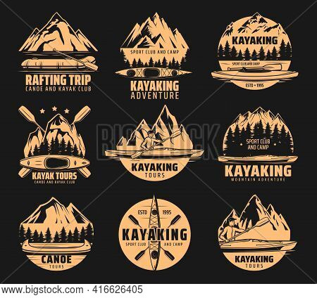 Kayaking Sport Icons, Rafting And Canoe Tours, Vector Outdoor Adventure Club Symbols. Nature Camping
