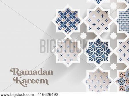 Muslim Holiday Ramadan Kareem Greeting Card. Close-up Of Colorful Ornamental Arabic Tiles, Patterns