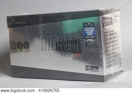 Moscow, Russia April 12, 2021 Box From Computer Power Supply Unit Seasonic Prime Titanium