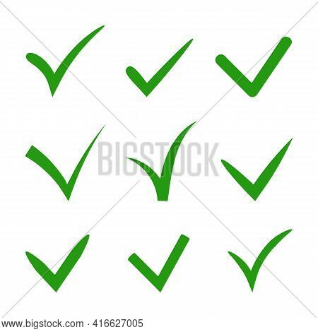 Set Of Hand-drawn Vector Tick Check In Green Color. Variety Of Ticks In Different Styles And Shapes.