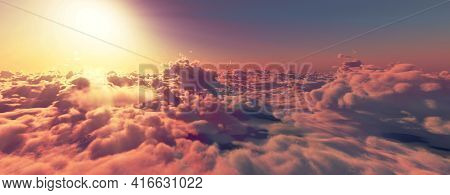 Above Clouds Fly Sunset Sun Ray Illustration, 3d Render