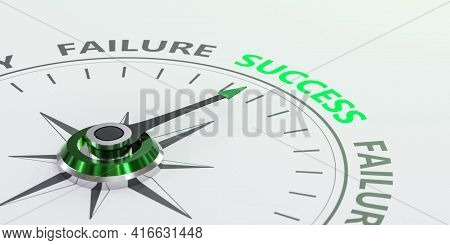 Success, Failure Concept Green Red Coloured Compass 3d Render Illustration With Words Success And Fa