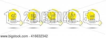 Report Diagram, Feather And Water Bottle Line Icons Set. Timeline Process Infograph. Seo Strategy Si