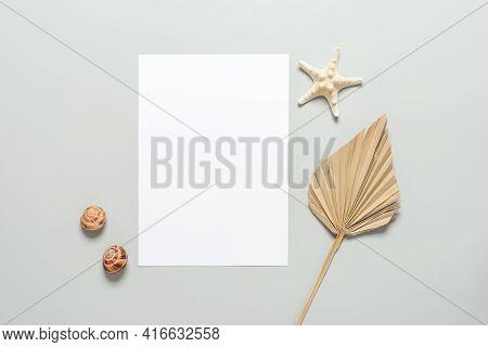 Wedding Summer Invitation In Beach Style. Blank Card Mockup, Seashells, Starfish And Dry Palm Leaf O