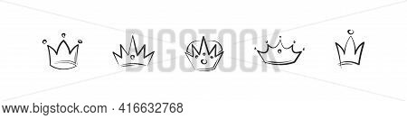 Crown Doodle Vector Hand Drawn Collection, Queen And King Tiara Jewelery Sketch Illustration.