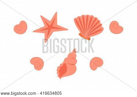 Set Of Seashells. Orange Seashells In A Simple Flat Style, For The Seaside, For The Aquarium, Summer